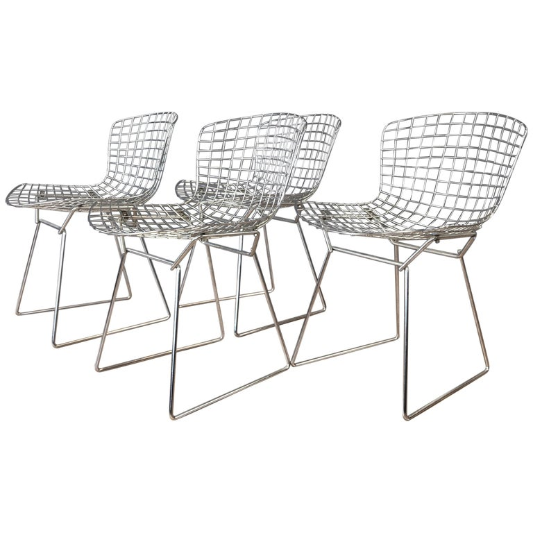 Four Bertoia Chrome Side Chairs for Knoll For Sale