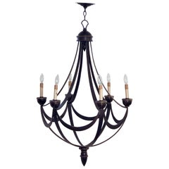 "American Six-Light Chandelier or Hanging Fixture, Modern Empire Style (Dia 29"")"