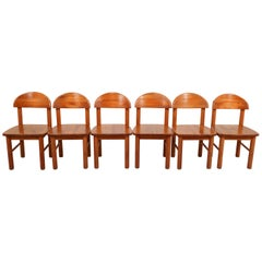 Mid-Century Modern Set of Six Pine Danish Chairs by Rainer Daumiller, 1970s