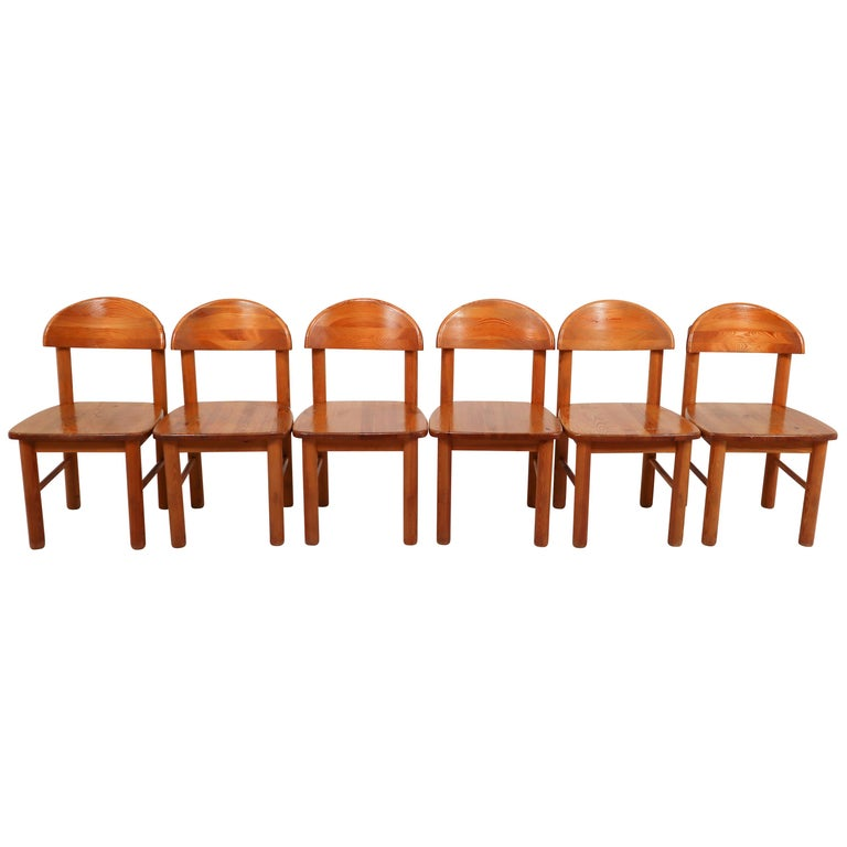 Mid-Century Modern Set of Six Pine Danish Chairs by Rainer Daumiller, 1970s For Sale