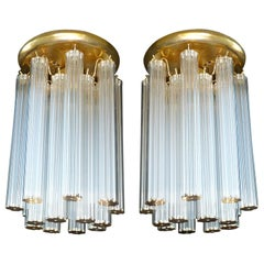 Luxury Pair of Italian Modernist w 256 Glass Straw Tubes & Gilt Brass Chandelier