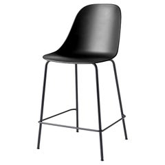 Harbour Side Chair, Counter Height Base in Black Steel, Black Shell
