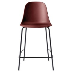 Harbour Side Chair, Counter Height Base in Black Steel, Burning Red Shell