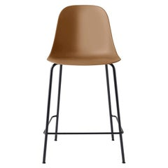 Harbour Side Chair, Counter Height Base in Black Steel, Khaki Shell