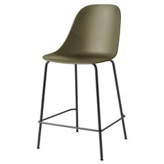 Harbour Side Chair, Counter Height Base in Black Steel, Olive Shell