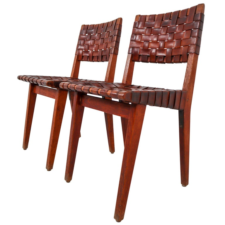 Early Woven Leather Side Chairs Model No. 666 by Jens Risom for Knoll, 1940s For Sale