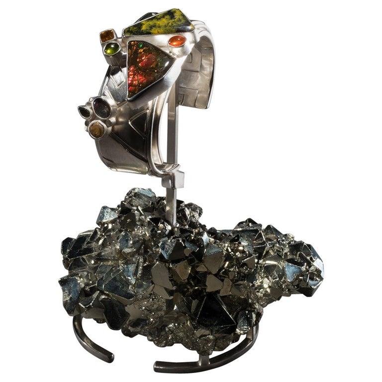 Studio Greytak 'Ammolite Cuff on Pyrite' Fire Opal, Tourmaline, Citrine & Jasper For Sale
