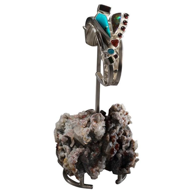 Studio Greytak 'Turquoise Cuff on Sphalerite with Garnet' Sunstone & Tourmaline For Sale
