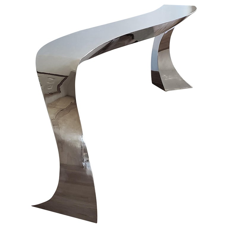 Hand Forged Stainless Steel Console by Curtis Norton Sculptural For Sale