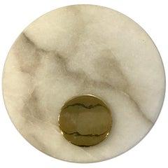 Single Italian Circular Carrara Marble Wall Sconce