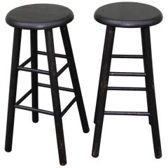 Bar Stools Midcentury in Black Painted Surface