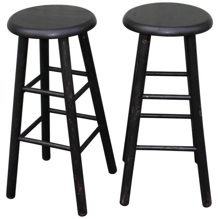 Bar Stools Midcentury in Black Painted Surface For Sale