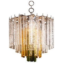 1960s Crystal Murano Venini Tri-Color Chandelier