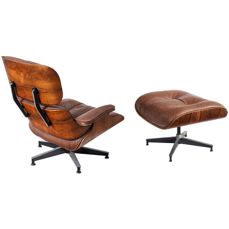 Lounge Chair and Ottoman by Charles and Ray Eames For Sale