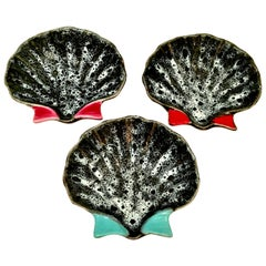 1950s French Pottery Oyster Dish by, Luc Vallauris, Set of Three