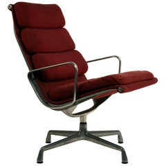 Eames Burgungy EA 216 Soft Pad Swiveling Lounge Chair for Herman Miller