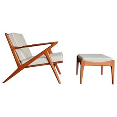 "Poul Jensen "" Z "" Lounge Chair and Ottoman for Selig of Denmark"