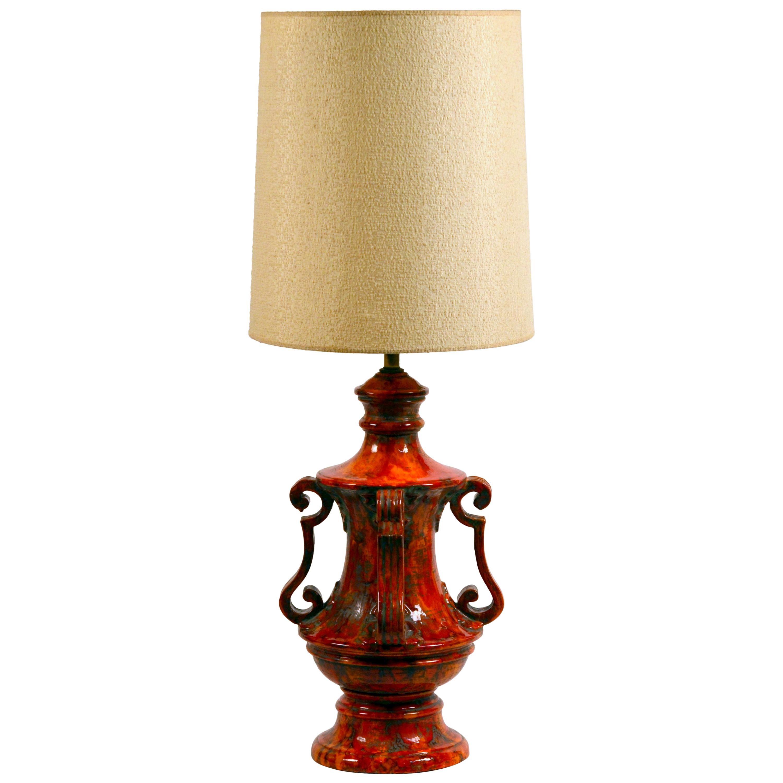 Monumental Hollywood Regency Glazed Ceramic Lamp