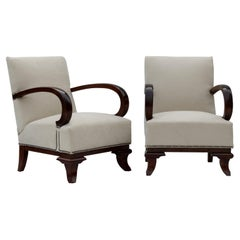Pair of Art Deco Armchairs, Fully Restored Attributed to Lajos Kozma, 1922