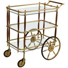 1950s Brass and Walnut Three-Tier Italian Bar Cart