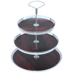 1950s Danish Silver Plate and Rosewood Three-Tier Cake Stand