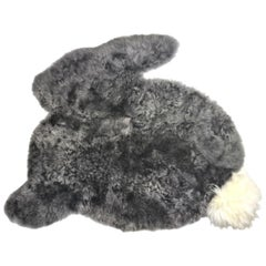 Bunny Rabbit Nursery Rug Grey Sheepskin with Long Wool Pompom Tail