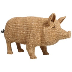 Mario Lopez Torres Large Wicker Pig Sculpture Signed, 1974