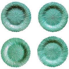 English Pottery Green-Glazed Leaf Plates, Possibly Brameld, Yorkshire