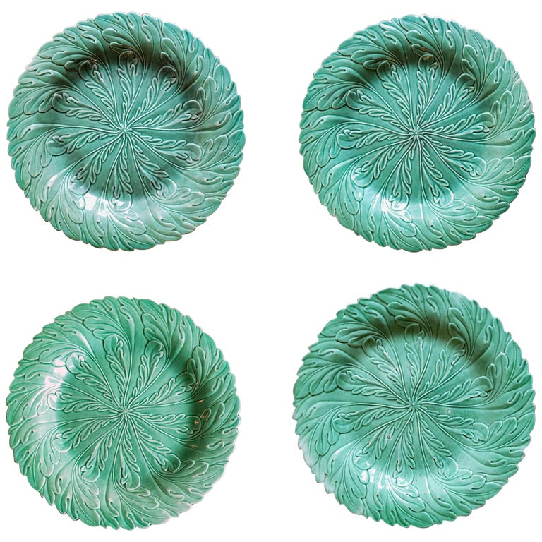English Pottery Green-Glazed Leaf Plates, Possibly Brameld, Yorkshire For Sale
