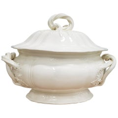 18th Century English Pottery Plain Creamware Tureen and Cover