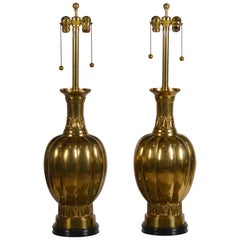 Pair of Chic Hollywood Regency Marbro Brass Lamps