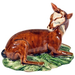 English Lead-Glazed Earthenware Model of a Doe at Lodge, Ralph Wood Type