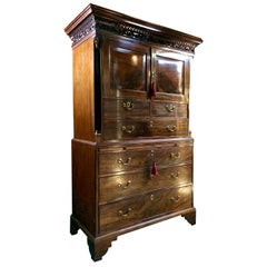 Antique Tallboy Chest Linen Press Chest on Chest George III Mahogany, circa 1810