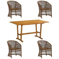 5-Piece Outdoor Dining Set in Woven Naturally Finished Wicker and Teak Wood