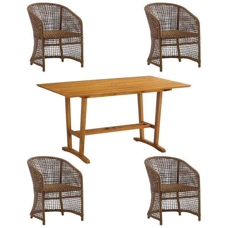 5-Piece Outdoor Dining Set in Woven Naturally Finished Wicker and Teak Wood For Sale