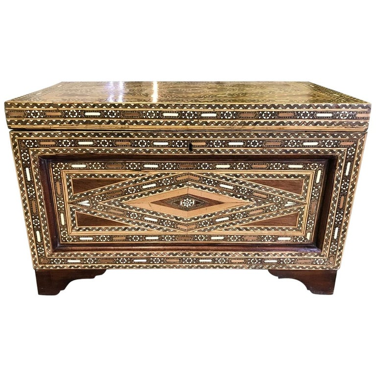 Syrian Moorish Mother of Pearl Inlaid Mosaic Trunk Box For Sale