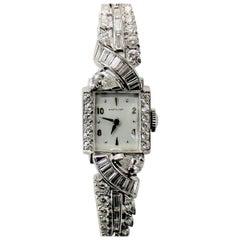 Ladies Art Deco Cocktail Watch in Platinum and Diamonds