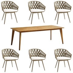 7-PC, Outdoor Dining Set, Wrapped Rope or Natural Finish, Stacking Chairs