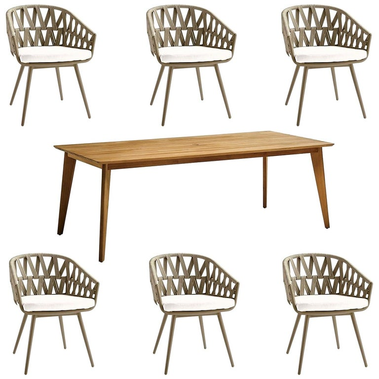 7-PC, Outdoor Dining Set, Wrapped Rope or Natural Finish, Stacking Chairs For Sale