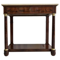 Original Empire Console Table or Wall Console with Marble Top