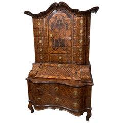 18th Century German Rococo Walnut Secretary
