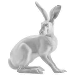 Hare Animal Figure in White Biscuit Porcelain by Nymphenburg