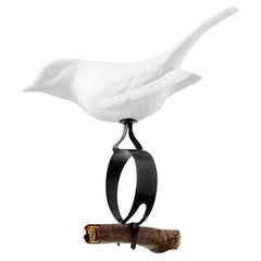 Perching Bird Emil Figure in White Biscuit Porcelain by Nymphenburg