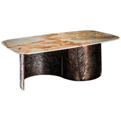 C Bronze Table in Orange Flakes Onyx by Gianluca Pacchioni