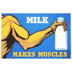Vintage Milk Makes Muscles Serigraph by N. Sealy