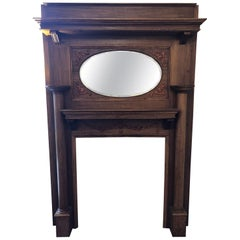 Late 20th Century Antique Wood Framed and Oval Mirror Inlayed Fireplace Mantel