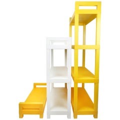 1970s Mid-Century Modern Yellow and White Plastic Shelving