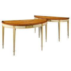 Large and Impressive Pair of Satinwood Inlaid 19th Century Console Tables