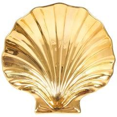 Large Shell Shaped Gold Ceramics Midcentury Bowl, Italy