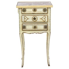 Yellow Lacquered Bedside Table with Drawers and Gilt Bronze, Louis XV Period
